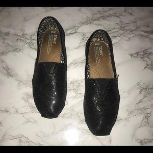 Classic Black Glitter Toms -